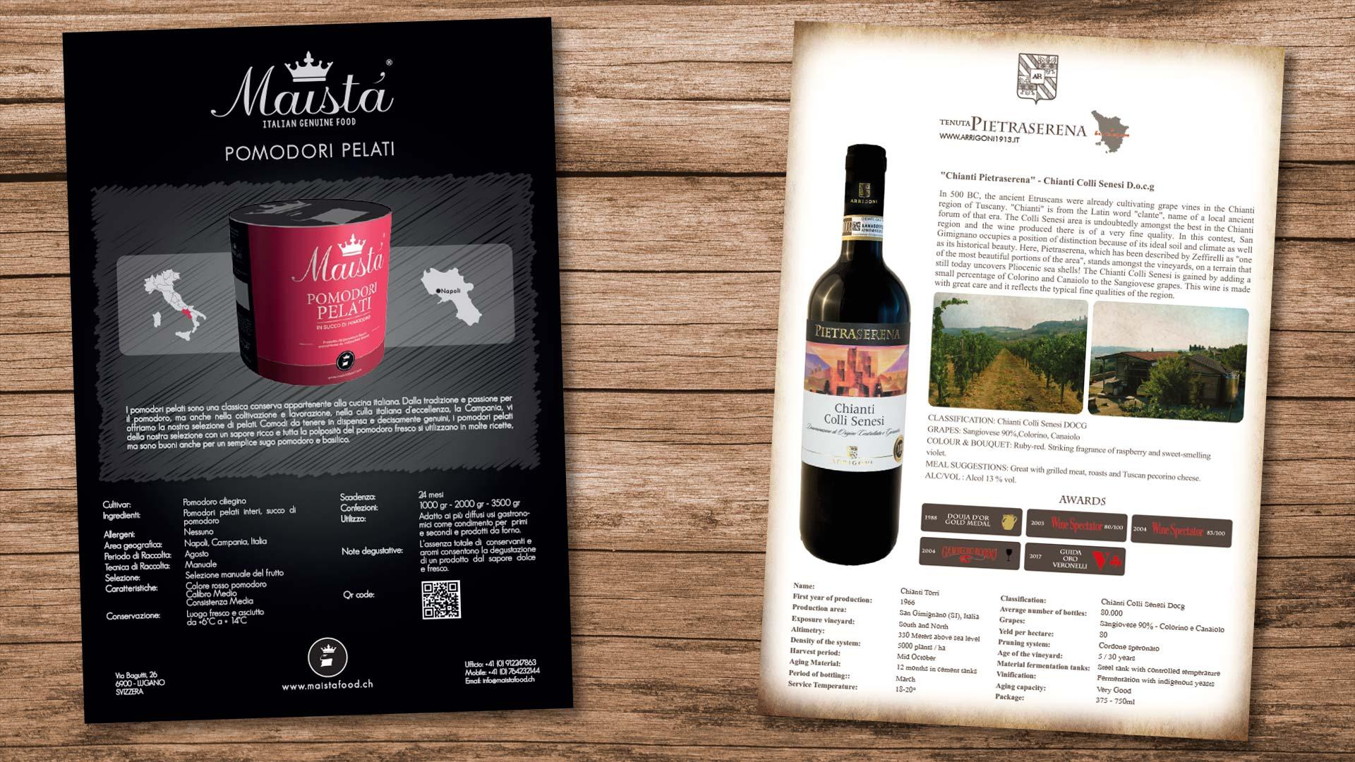 Grafica pubblicitaria La Spezia - schede tecniche food e wine