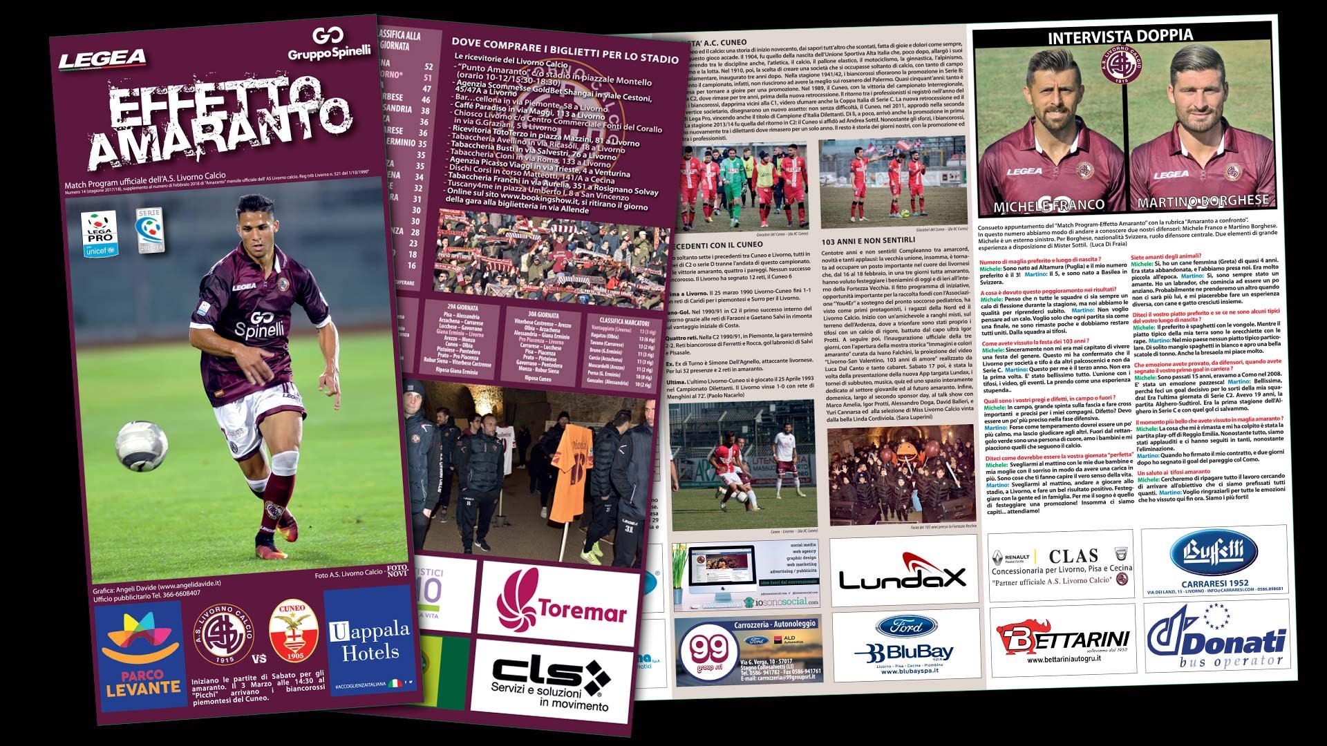 Grafica pubblicitaria La Spezia -Match Programm Livorno Calcio partite in casa