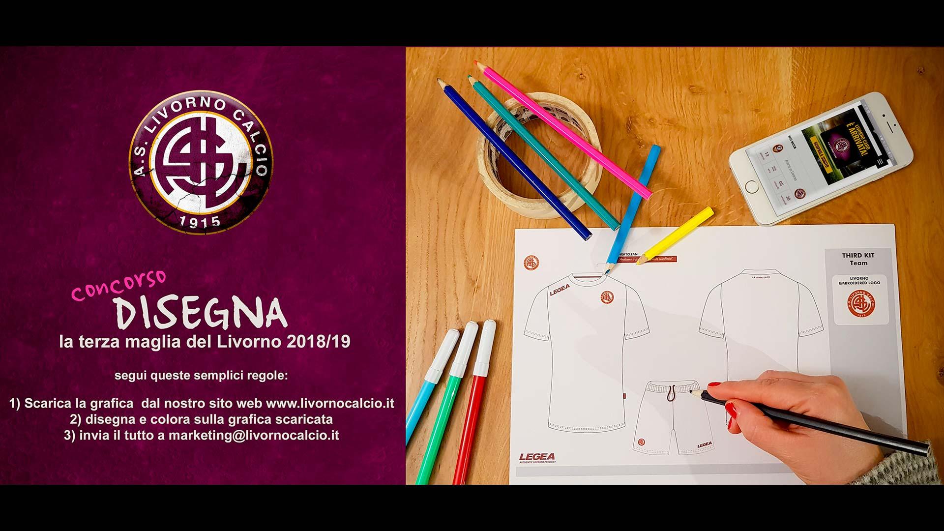Grafica pubblicitaria La Spezia concorso terza maglia Livorno Calcio